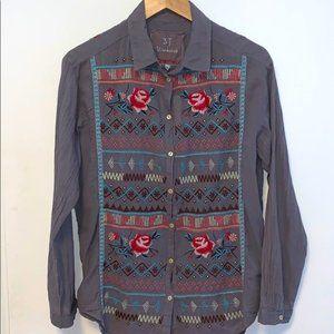 Johnny Was 3J Workshop Floral Embroidered Shirt